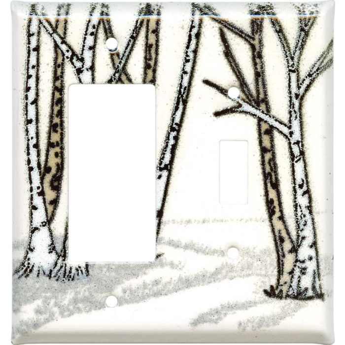 Birches 1-Gang GFCI Decorator Rocker Switch Plate Cover