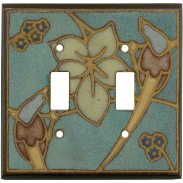Bird on Branch Ceramic Double 2 Toggle Switch Plate Covers