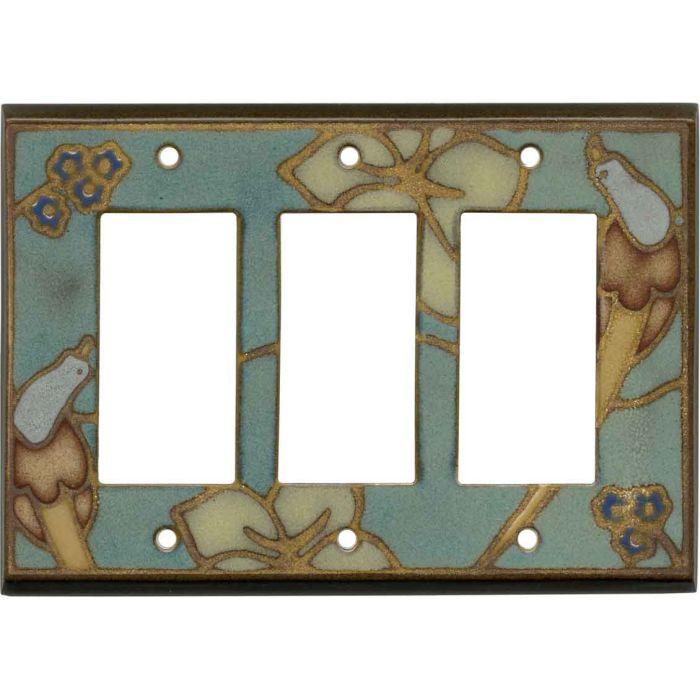 Bird on Branch Ceramic Triple 3 Rocker GFCI Decora Light Switch Covers