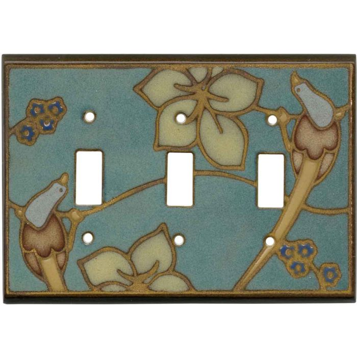 Bird on Branch Ceramic Triple 3 Toggle Light Switch Covers