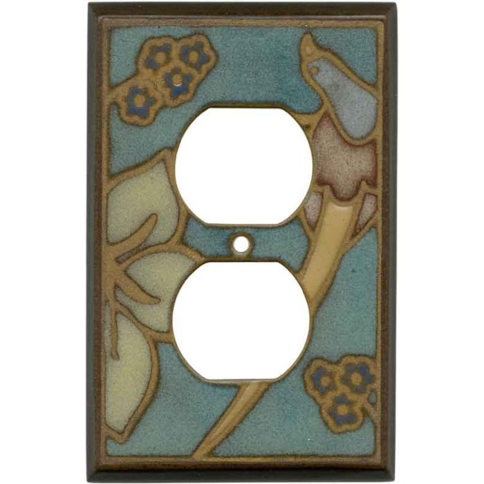 Bird on Branch Ceramic 1 Gang Duplex Outlet Cover Wall Plate