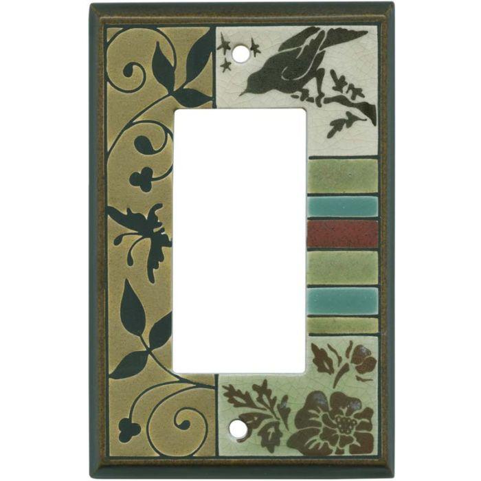 Bird Tapestry Ceramic Single 1 Gang GFCI Rocker Decora Switch Plate Cover