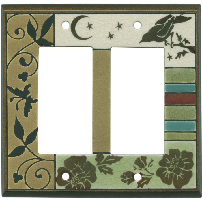 Bird Tapestry Ceramic 2 Gang Double GFCI Rocker Decorator Wallplates