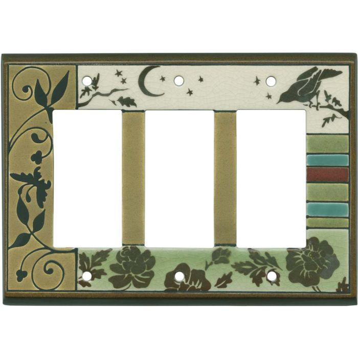 Bird Tapestry Ceramic Triple 3 Rocker GFCI Decora Light Switch Covers