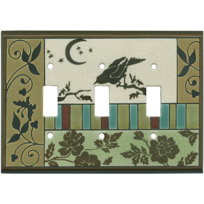 Bird Tapestry Ceramic Triple 3 Toggle Light Switch Covers