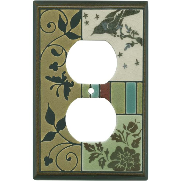 Bird Tapestry Ceramic 1 Gang Duplex Outlet Cover Wall Plate