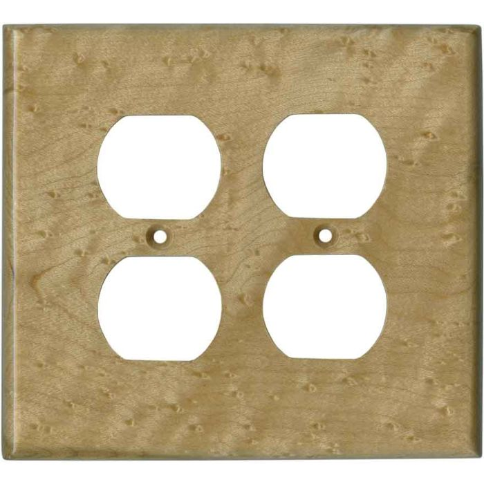 Birdseye Maple Satin Lacquer 2 Gang Duplex Outlet Wall Plate Cover