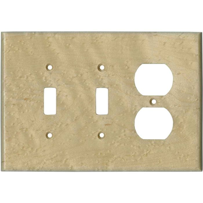 Birdseye Maple Satin Lacquer - 2 Toggle/Outlet Combo Wallplates