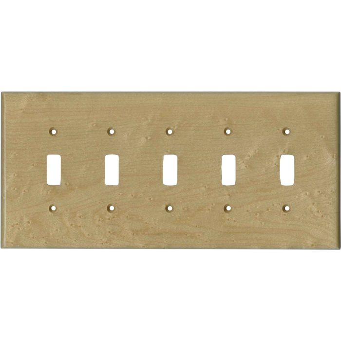 Birdseye Maple Satin Lacquer - 5 Toggle Wall Switch Plates