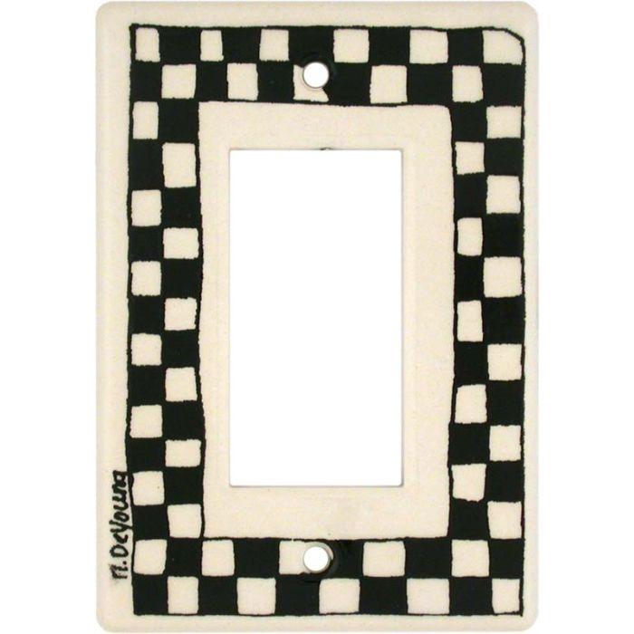 Black Check Single 1 Gang GFCI Rocker Decora Switch Plate Cover