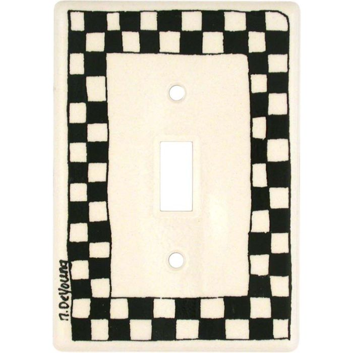 Black Check 1 Toggle Light Switch Cover