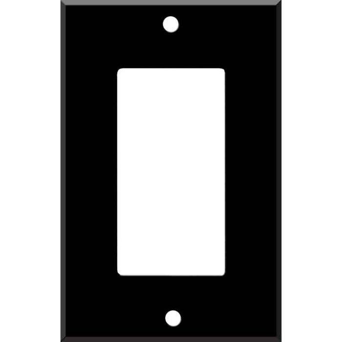 Black Enamel Single 1 Gang GFCI Rocker Decora Switch Plate Cover