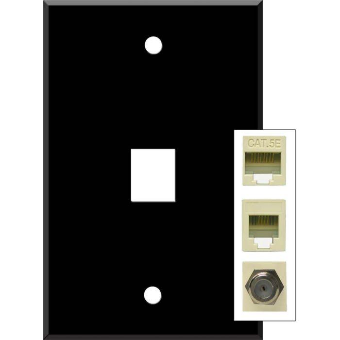 Black Enamel 1 Port Modular Wall Plates for Phone, Data, Phone