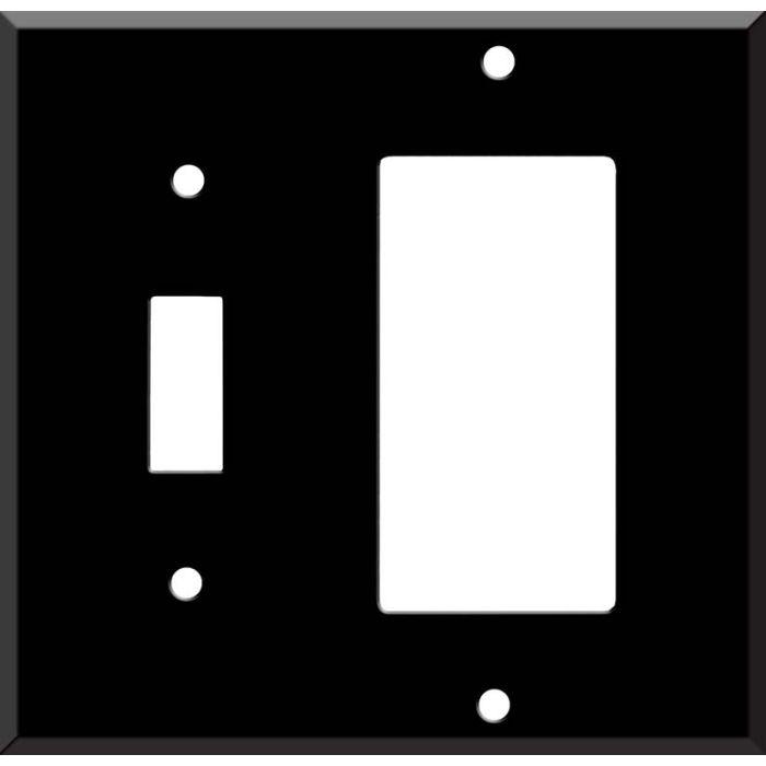 Black Enamel Combination 1 Toggle / Rocker GFCI Switch Covers