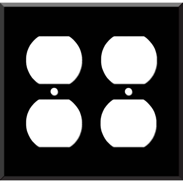 Black Enamel - 2 Gang Electrical Outlet Covers