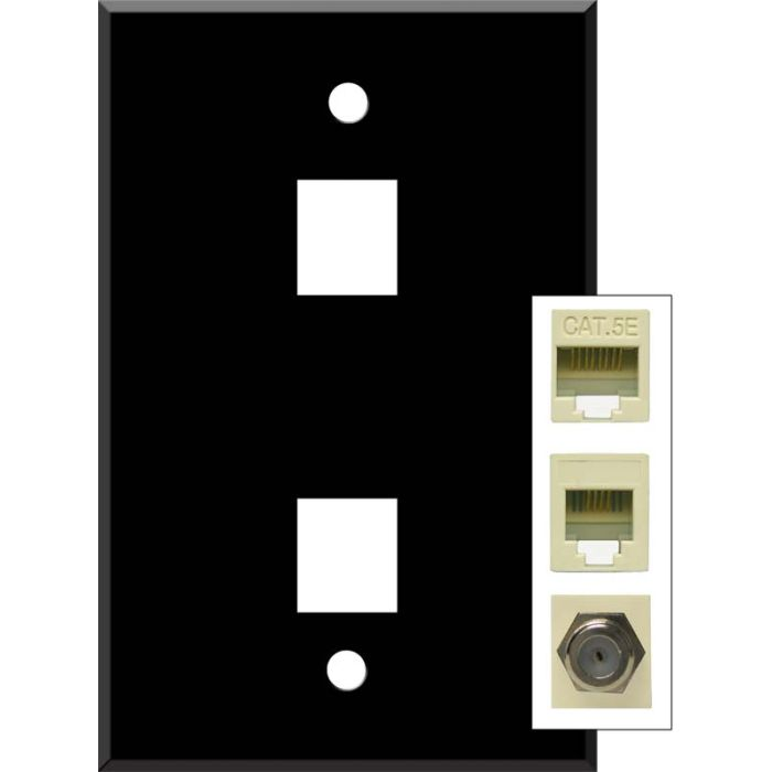 Black Enamel Double Port Modular Wall Plates for Data, Phone, Cable