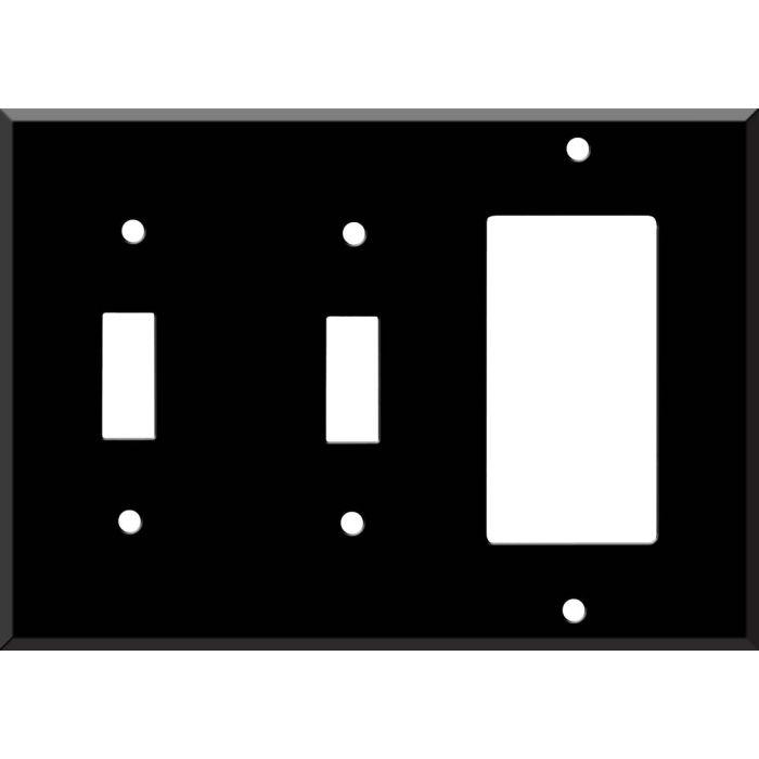 Black Enamel Double 2 Toggle / 1 GFCI Rocker Combo Switchplates