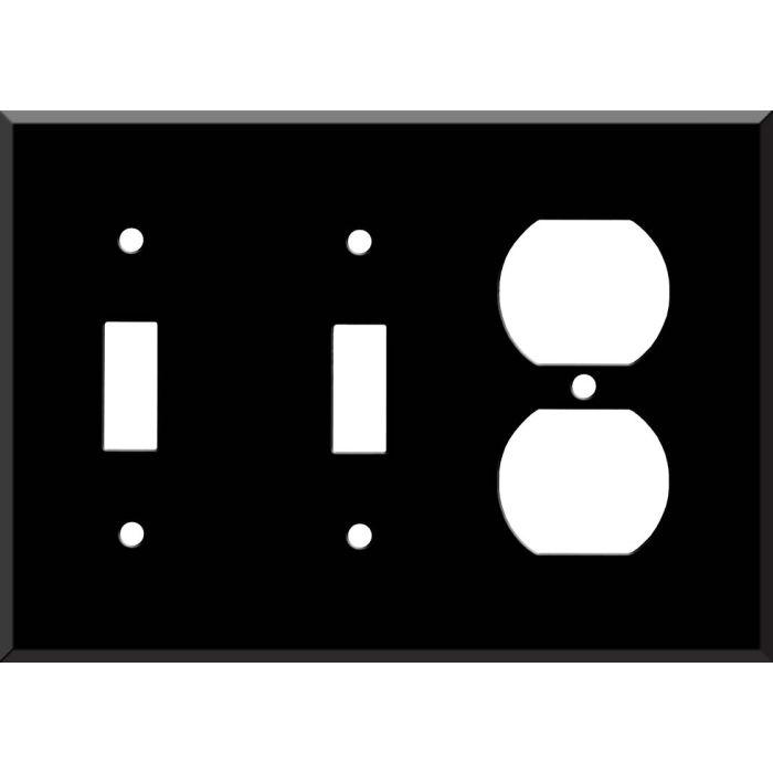 Black Enamel - 2 Toggle/Outlet Combo Wallplates