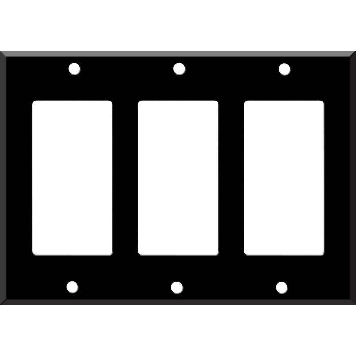 Black Enamel - 3 Rocker GFCI Decora Switch Covers