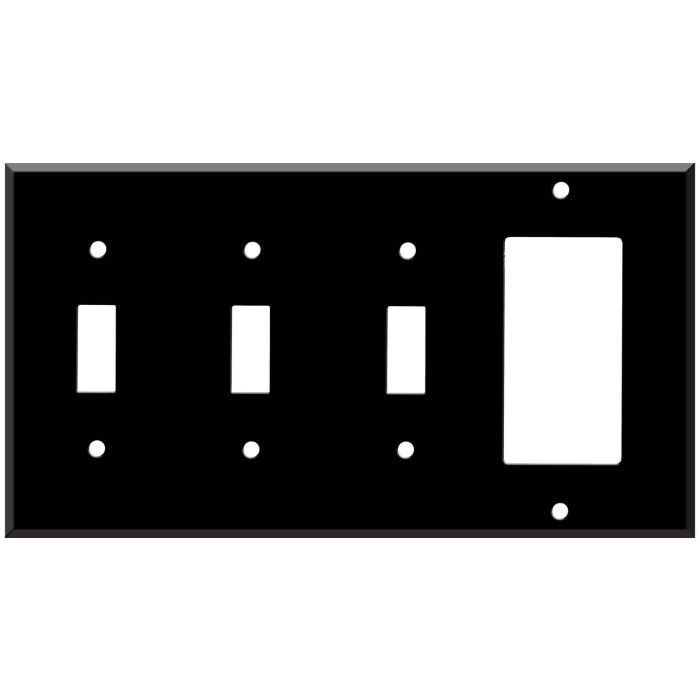 Black Enamel Triple 3 Toggle / 1 Rocker GFCI Switch Covers