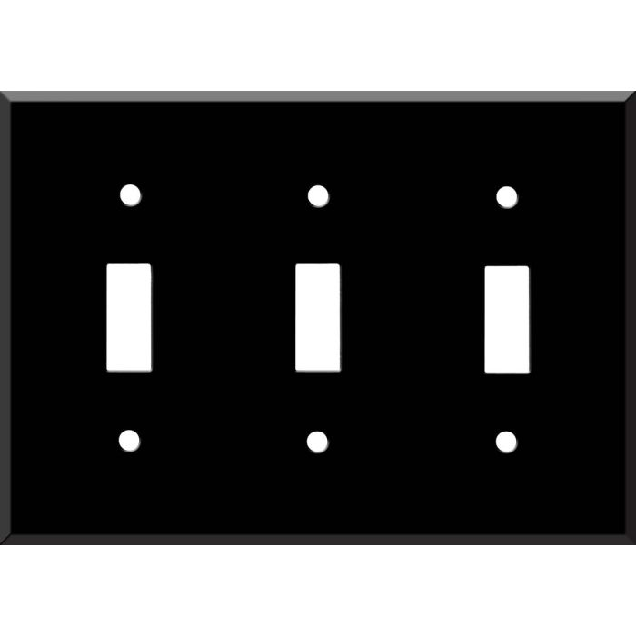 Black Enamel Triple 3 Toggle Light Switch Covers