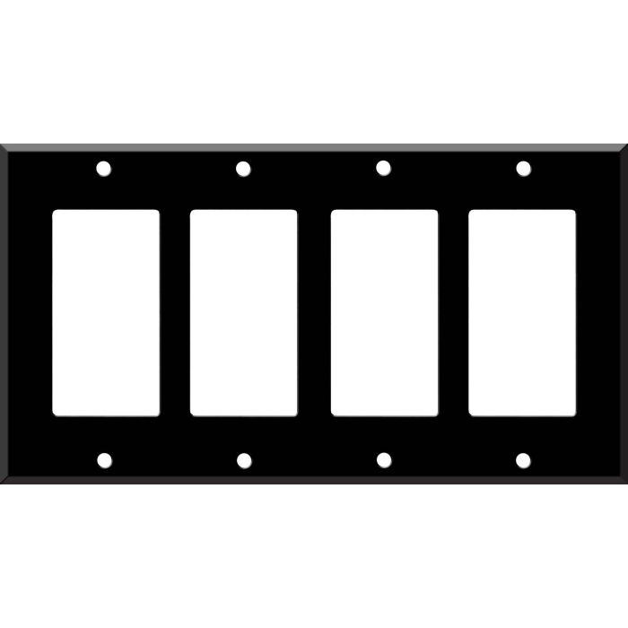 Black Enamel 4 Rocker GFCI Decorator Switch Plates