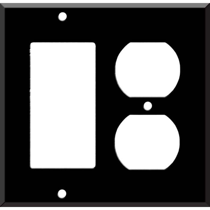 Black Enamel Combination GFCI Rocker / Duplex Outlet Wall Plates
