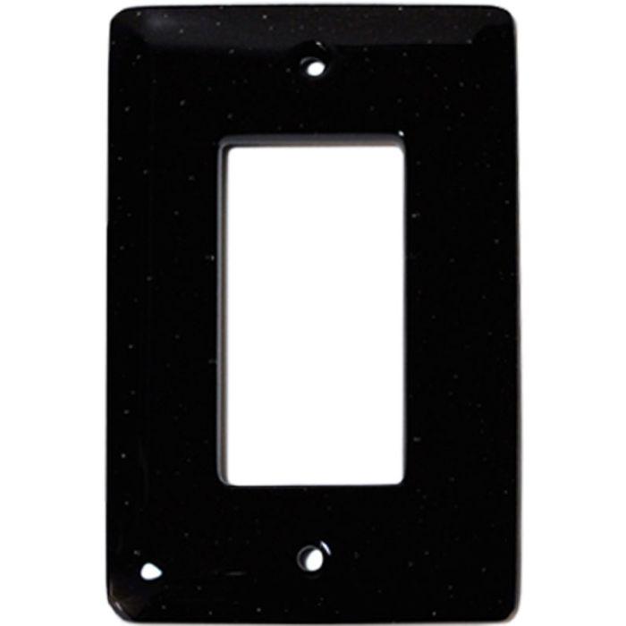 Black Glass Single 1 Gang GFCI Rocker Decora Switch Plate Cover