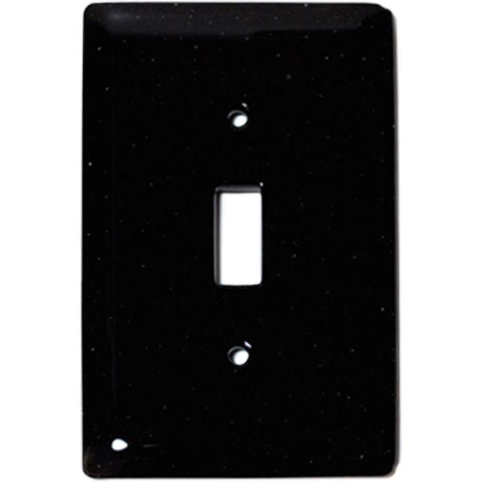 Black Glass Single 1 Toggle Light Switch Plates