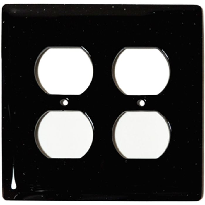 Black Glass 2 Gang Duplex Outlet Wall Plate Cover