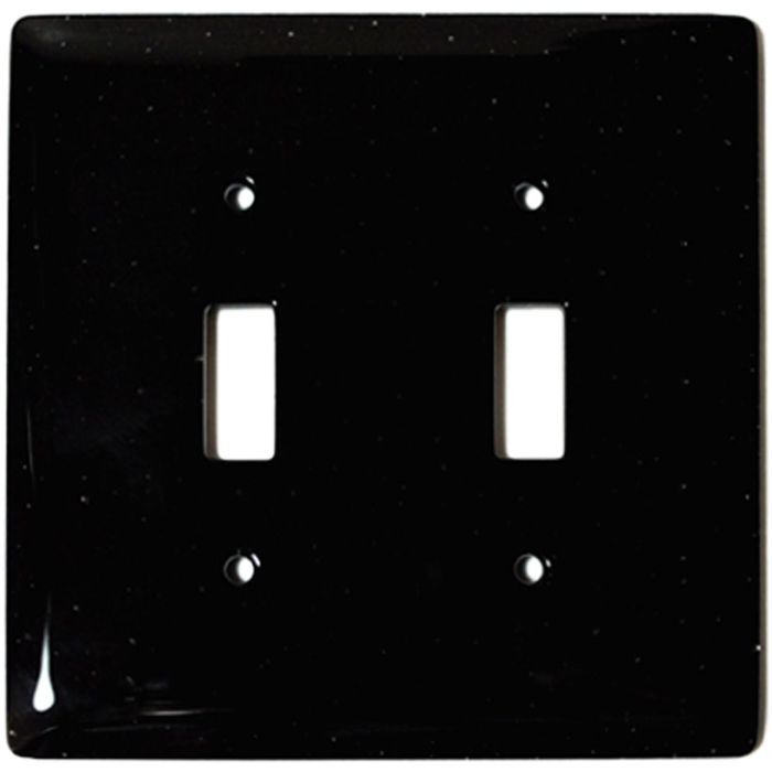 Black Glass Double 2 Toggle Switch Plate Covers