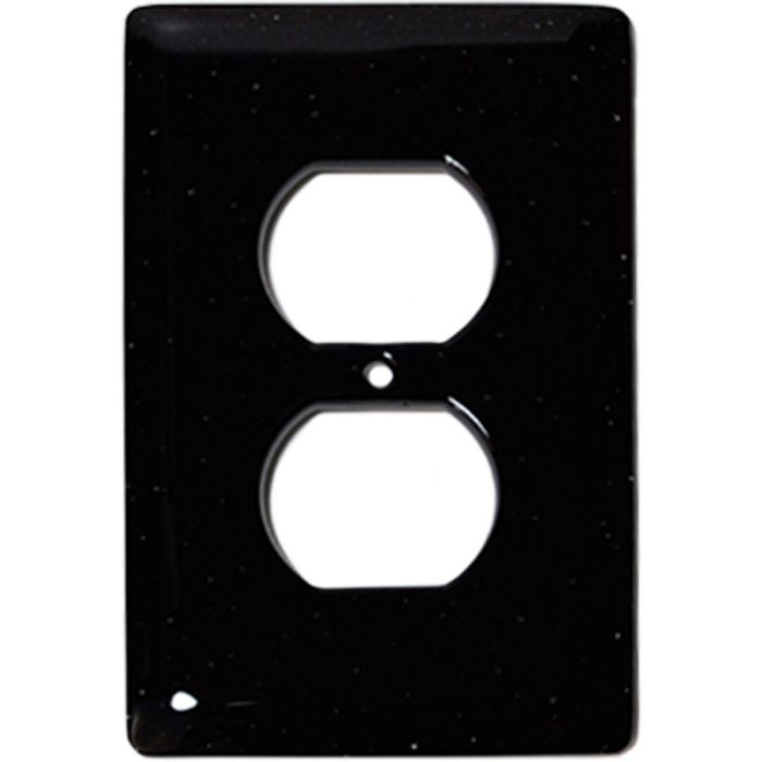 Black Glass 1 Gang Duplex Outlet Cover Wall Plate