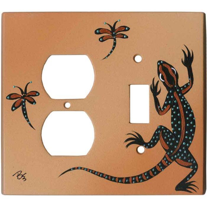 Black Lizard on Sand 1-Duplex / 1-Toggle - Combination Wall Plates