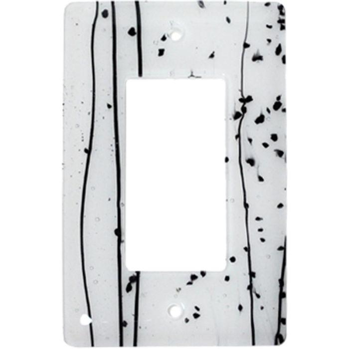 Black Mardi Gras White Glass Single 1 Gang GFCI Rocker Decora Switch Plate Cover