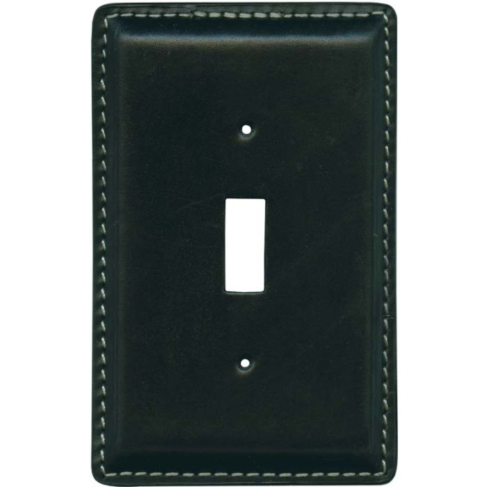 Black Oiled Leather Single 1 Toggle Light Switch Plates