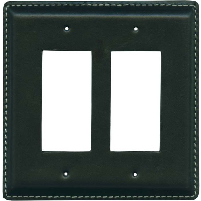 Black Oiled Leather - 2 Gang Double GFCI Rocker Wallplates