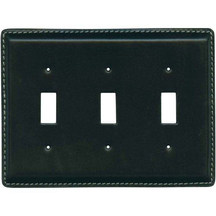 Black Oiled Leather Triple 3 Toggle Light Switch Covers