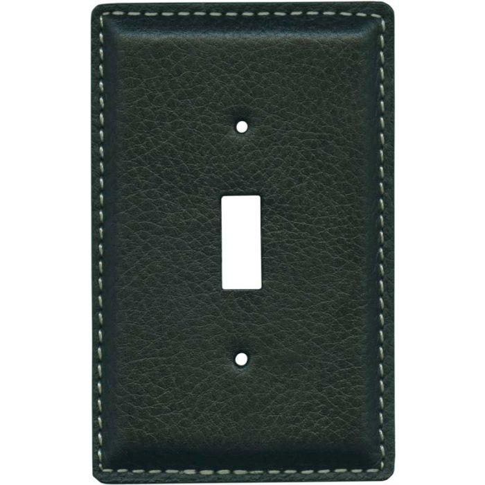 Black Pebble Grain Leather - 1 Toggle Light Switch Plates