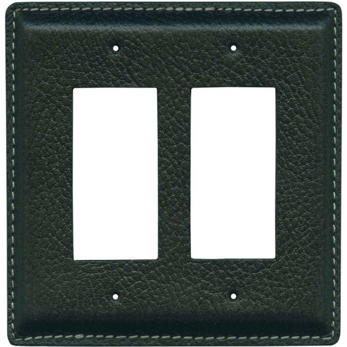 Black Pebble Grain Leather2-Gang Decorator / GFCI Rocker Wall Plate Cover