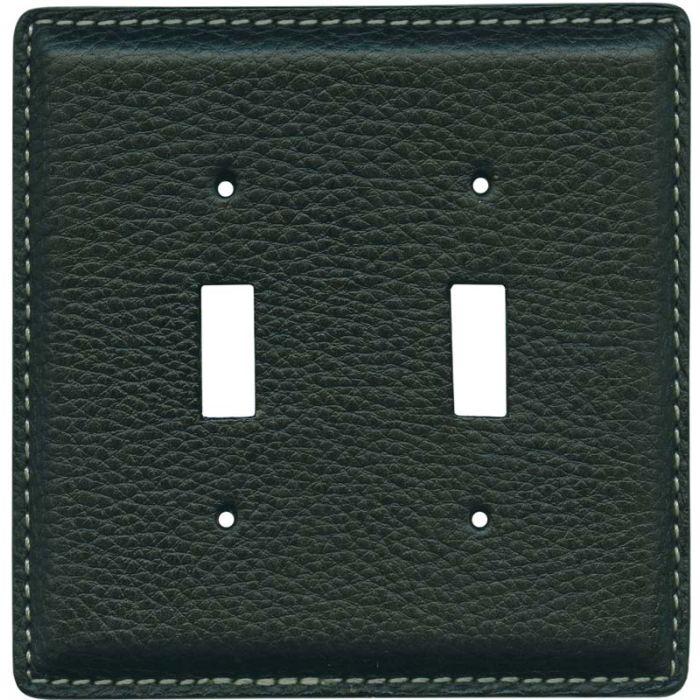 Black Pebble Grain Leather2 Toggle Switch Plates