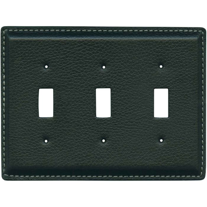 Black Pebble Grain Leather Triple 3 Toggle Light Switch Covers