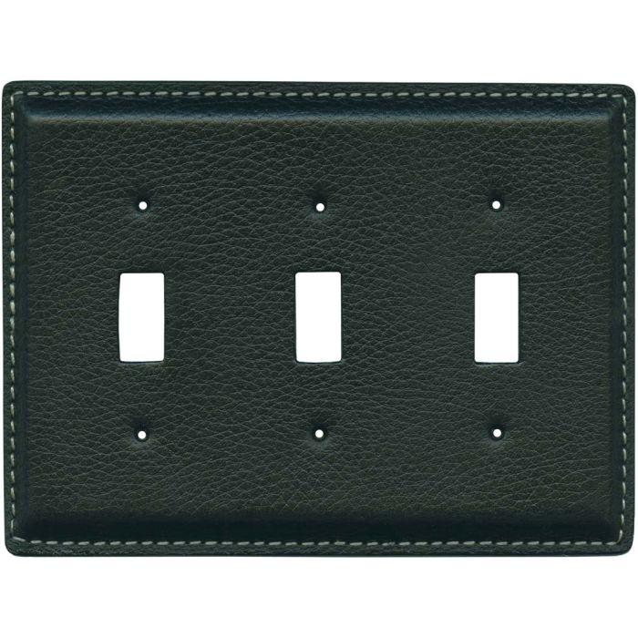 Black Pebble Grain Leather3 - Toggle Switch Plates