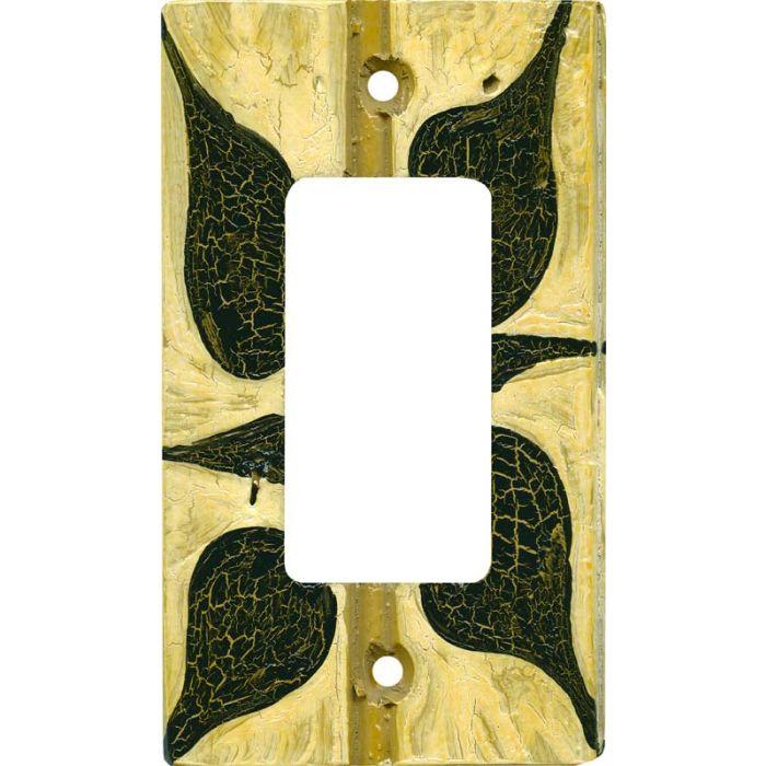 Black - White Batik Single 1 Gang GFCI Rocker Decora Switch Plate Cover