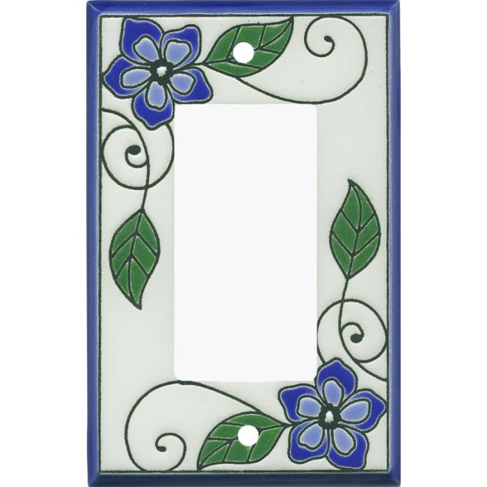 Blossoms Blue Ceramic Single 1 Gang GFCI Rocker Decora Switch Plate Cover