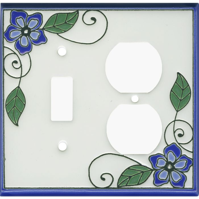 Blossoms Blue Ceramic Combination 1 Toggle / Outlet Cover Plates