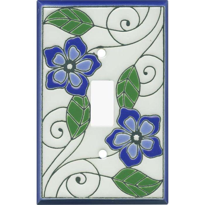 Blossoms Blue Ceramic Single 1 Toggle Light Switch Plates