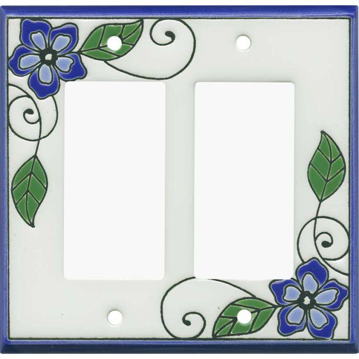 Blossoms Blue Ceramic 2 Gang Double GFCI Rocker Decorator Wallplates