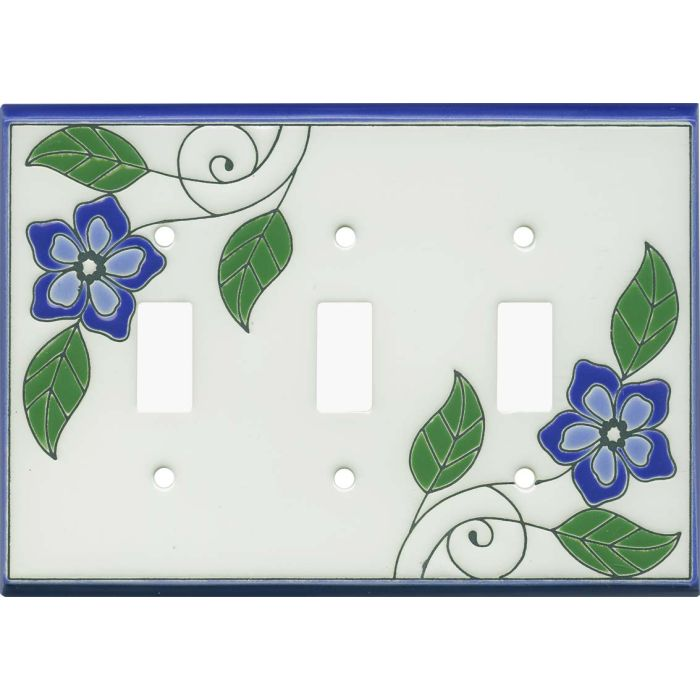 Blossoms Blue Ceramic Triple 3 Toggle Light Switch Covers