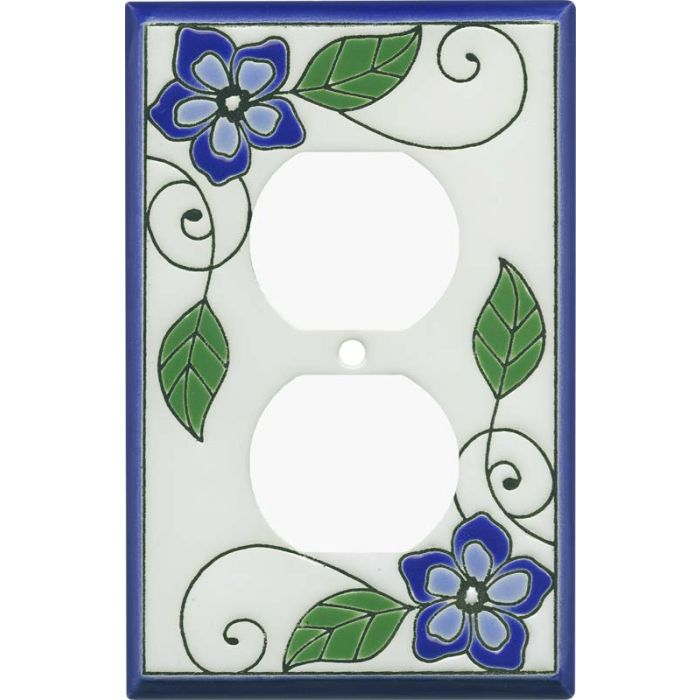 Blossoms Blue Ceramic 1 Gang Duplex Outlet Cover Wall Plate