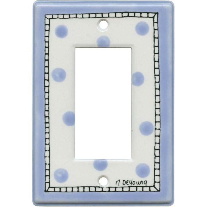 Blue Dots Single 1 Gang GFCI Rocker Decora Switch Plate Cover